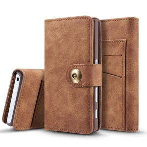 2-in-1 Vintage Leather Case Wallet + Detachable PC Mobile Shell for Sony Xperia X Compact - Dark Brown