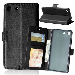 Multi ID/Credit Card Slots Crazy Horse Leather Case for Sony Xperia M5 / M5 Dual - Black