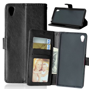 Crazy Horse Leather Case with Multi ID/Credit Card Slots for Sony Xperia Z5 / Z5 Dual - Black
