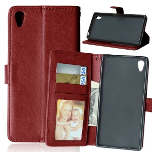 Mobile Accessory Crazy Horse Leather Wallet Case for Sony Xperia Z5 / Z5 Dual - Brown
