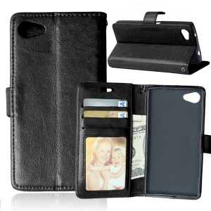 Crazy Horse Wallet Leather Stand Case for Sony Xperia Z5 Compact - Black