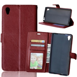 Crazy Horse PU Leather Wallet Case for Sony Xperia Z5 Premium / Premium Dual - Brown
