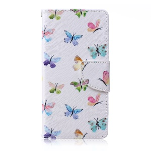 Printing Pattern Wallet Leather Mobile Case for Sony Xperia M4 Aqua / Dual - Colorful Butterflies