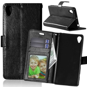 3 Card Slots Wallet Crazy Horse PU Leather Case Stand for Sony Xperia X - Black