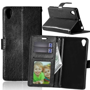 For Sony Xperia X Performance Crazy Horse Wallet 3 Card Slots Leather Case Stand - Black