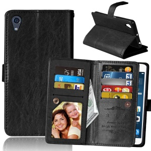 For Sony Xperia X Wallet 9 Card Slots Crazy Horse Leather Stand Case - Black