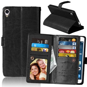For Sony Xperia XA Ultra Wallet 9 Card Slots Crazy Horse Leather Stand Case - Black