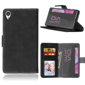 Vintage Style Matte Wallet Leather Phone Cover for Sony Xperia X - Black