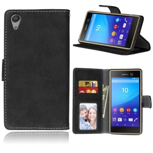 Retro Matte Surface Leather Wallet Flip Cover for Sony Xperia X Performance - Black