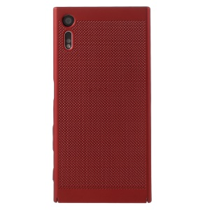 Hollow Mesh Heat Dissipation PC Back Cover Case for Sony Xperia XZs / XZ - Red