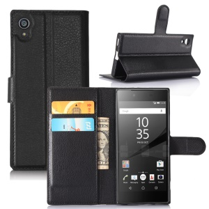 Litchi Grain Wallet Stand Leather Mobile Case for Sony Xperia XA1 - Black