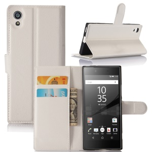 Litchi Grain Wallet Leather Cell Phone Cover for Sony Xperia XA1 - White