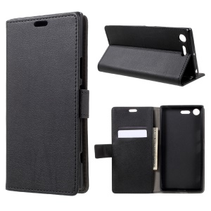 Wallet Leather Cover Case for Sony Xperia XZ Premium - Black