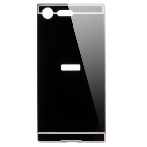 Slide-on Metal Bumper Plated PC Hard Case for Sony Xperia XZ Premium - Black