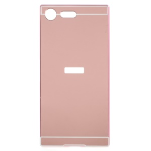 Slide-on Plating Metal Bumper Mirror-like PC Mobile Case for Sony Xperia XZ Premium - Rose Gold