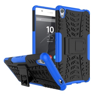 Tyre Pattern Kickstand PC + TPU Combo Mobile Casing for Sony Xperia XA Ultra - Blue