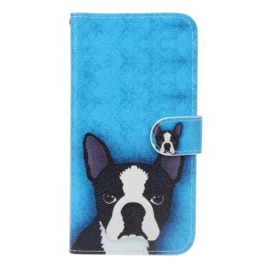 Pattern Printing Leather Wallet Cover Case for Sony Xperia X Compact - Dog Pattern