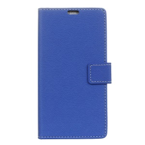Cross Texture PU Leather Wallet Mobile Casing Cover for Sony Xperia XA1 - Blue