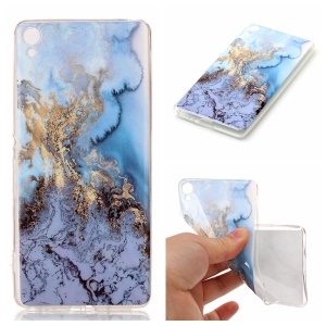 For Sony Xperia XA / XA Dual Marble Pattern IMD TPU Cell Phone Cover - Baby Blue