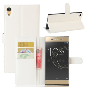 Litchi Skin Leather Wallet Cover for Sony Xperia XA1 Ultra - White