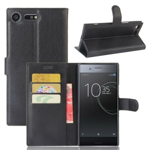 Litchi Skin Wallet Leather Stand Case for Sony Xperia XZ Premium - Black
