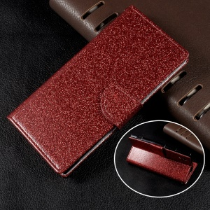Flash Powder Leather Wallet Case for Sony Xperia XA1 - Red
