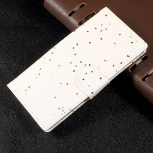 Flash Powder Leather Wallet Stand Phone Case for Sony Xperia XA1 - White