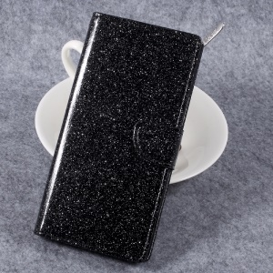Glittery Smooth Leather Stand Wallet Case for Sony Xperia XZ Premium - Black