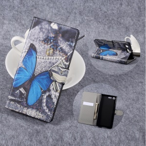 Patterned Leather Wallet Stand Mobile Phone Case for Sony Xperia XZ Premium - Blue Butterfly