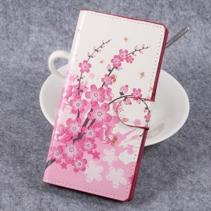 For Sony Xperia XZ Premium Patterned Leather Wallet Stand Mobile Phone Case - Plum Blossom