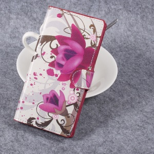 For Sony Xperia XZ Premium Patterned Leather Wallet Stand Flip Cover - Purple Flowers