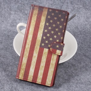 For Sony Xperia XZ Premium Patterned Leather Wallet Stand Mobile Phone Shell - Retro American Flag