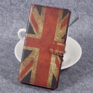 For Sony Xperia XZ Premium Patterned Leather Wallet Stand Mobile Phone Case Shell - Vintage UK Flag