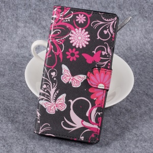 For Sony Xperia XZ Premium Patterned Leather Wallet Cell Phone Case with Stand - Floral Butterflies