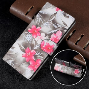 Patterned Leather Wallet Stand Mobile Phone Case for Sony Xperia XA1 - Red Blooming Flowers