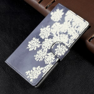Patterned Wallet Leather Mobile Casing Cover for Sony Xperia XA1 - Flowers Pattern