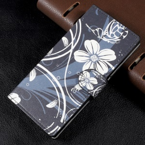 Patterned Leather Magnetic Wallet Flip Cover for Sony Xperia XA1 - White Flowers