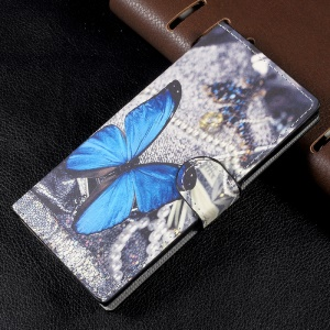 Patterned Leather Cover with Wallet Slots for Sony Xperia XA1 - Blue Butterfly