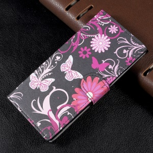 Patterned Leather Wallet Shell with Stand for Sony Xperia XA1 - Floral Butterflies