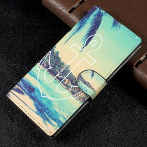 Wallet Leather Folio Pattern Case Cover for Sony Xperia XA1 - Anchor Pattern