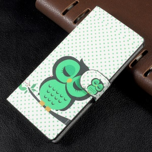 Magnetic Leather Flip Patterned Wallet Stand Cover for Sony Xperia XA1 - Green Owl Sleeping on the Branch
