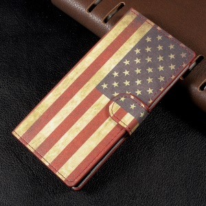 Patterned Leather Wallet Stand Flip Cover for Sony Xperia XA1 - Retro American Flag