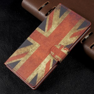 Patterned Leather Wallet Stand Mobile Phone Cover for Sony Xperia XA1 - Vintage UK Flag