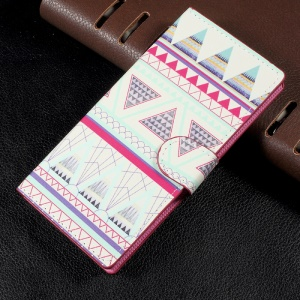 Patterned Leather Wallet Stand Mobile Phone Shell for Sony Xperia XA1 - Tribal Tribe