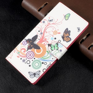 Patterned Leather Wallet Stand Mobile Phone Case Shell for Sony Xperia XA1 - Butterfly Circles