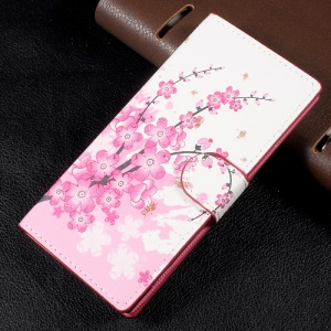 Patterned Leather Wallet Mobile Phone Case with Stand for Sony Xperia XA1 - Plum Blossom