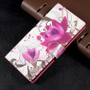 Patterned Leather Wallet Cell Phone Case with Stand for Sony Xperia XA1 - Purple Flowers