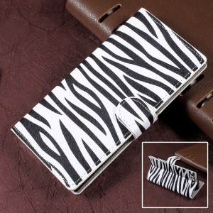 For Sony Xperia XZ Premium Zebra Patterned Leather Wallet Stand Cell Phone Case