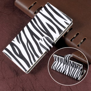 Zebra Stripes Leather Wallet Stand Mobile Phone Case for Sony Xperia XA1