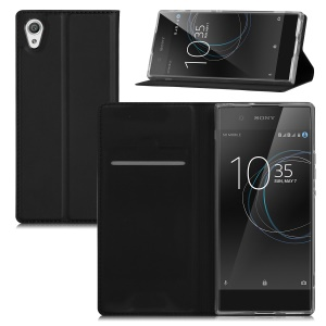 Flip Stand Leather Phone Case with Card Holder for Sony Xperia XA1 Ultra - Black